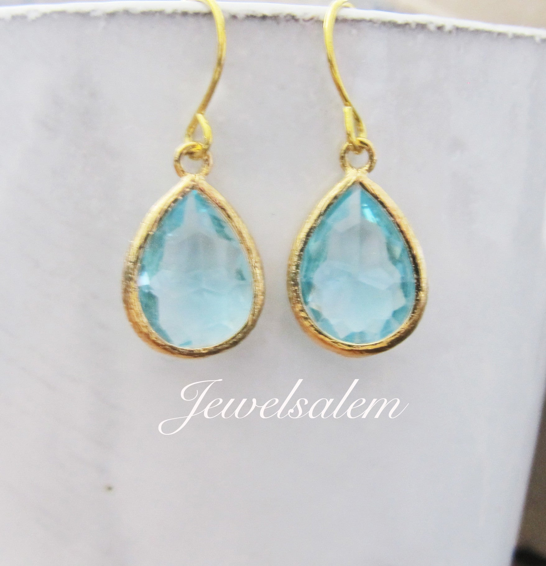 Aquamarine Earrings in Silver or Gold - Jewelsalem
