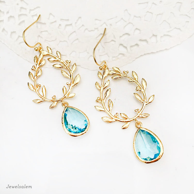 Aquamarine Earrings Gold Laurel Wreath Bridal Earrings Bridesmaids Gift - Jewelsalem