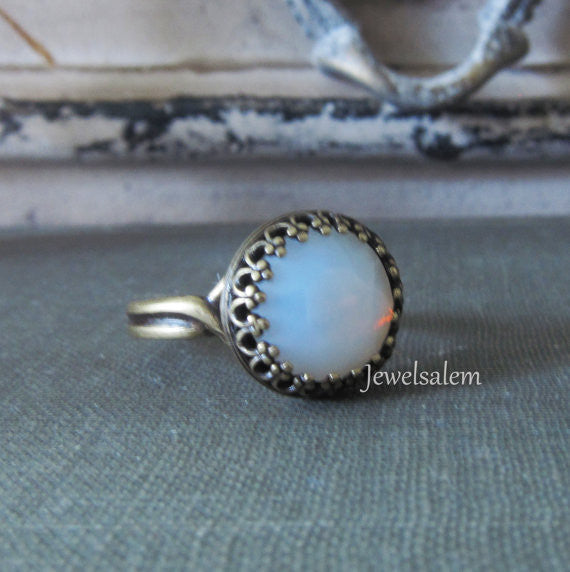 Moonstone Ring White Rainbow Opal Ring Fairy Ring Fantasy Silver Ring Gold Brass Ring Translucent Milky Cloudy Winter Modern Jewelry - Jewelsalem