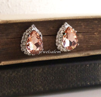 Delovely - Morganite Pink Silver Wedding Earrings - Jewelsalem