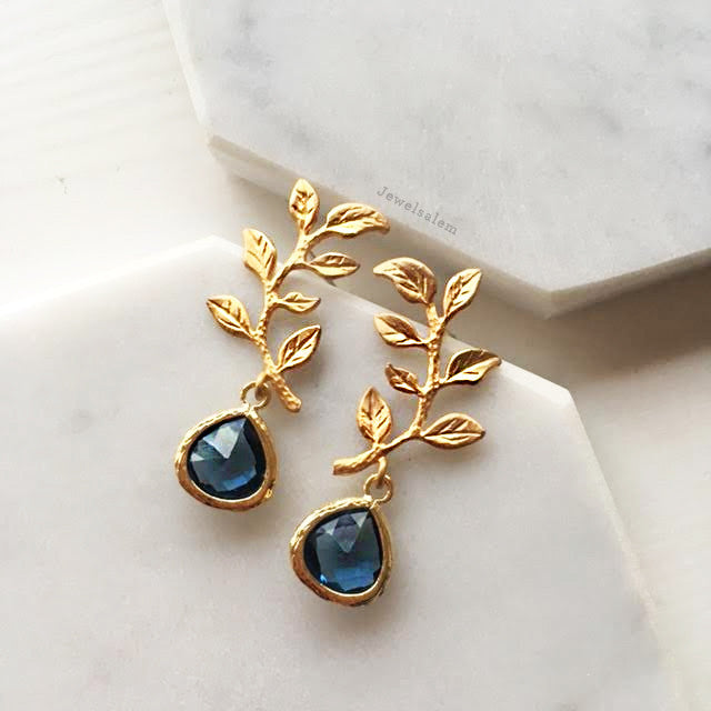 Suzette Earrings - Navy Sapphire Blue - Jewelsalem