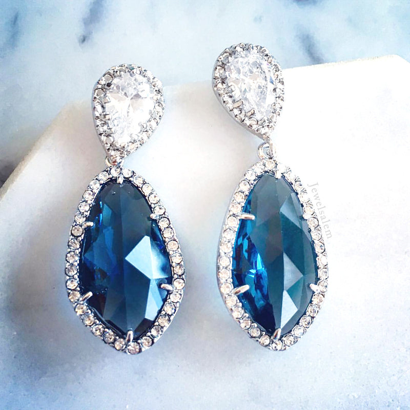 Alexis - Turquoise Cubic Zirconia Earrings - Jewelsalem