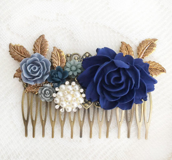 Harriet - Rhinestone Pearl Navy Blue Wedding Bridal Comb - Jewelsalem