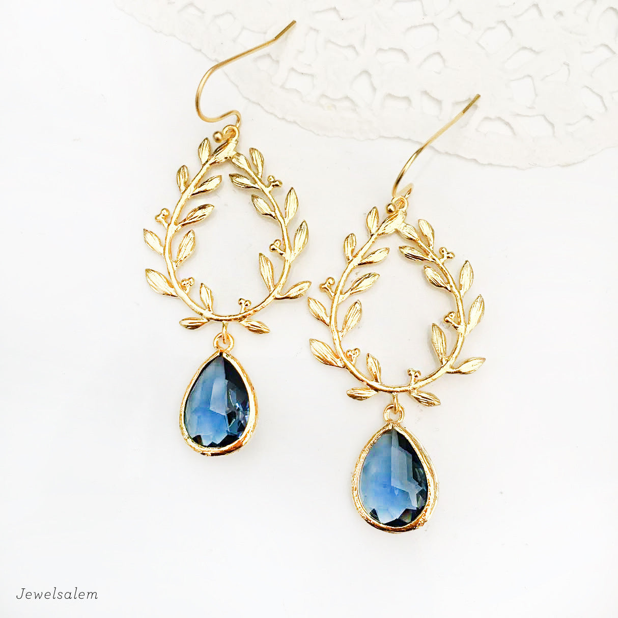 Navy Blue Gold Wedding Earrings - Jewelsalem