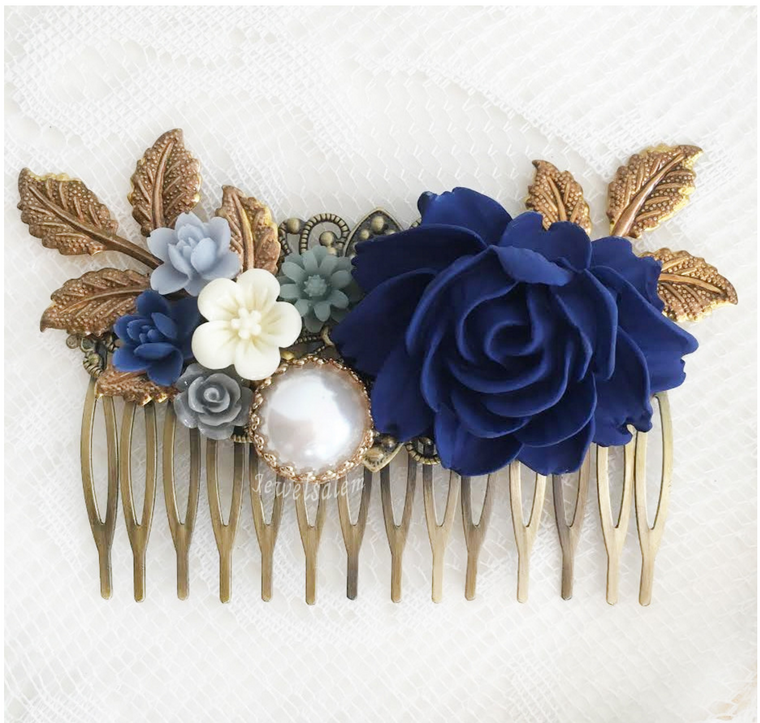 Floria - Sapphire Blue Wedding Hair Comb - Jewelsalem