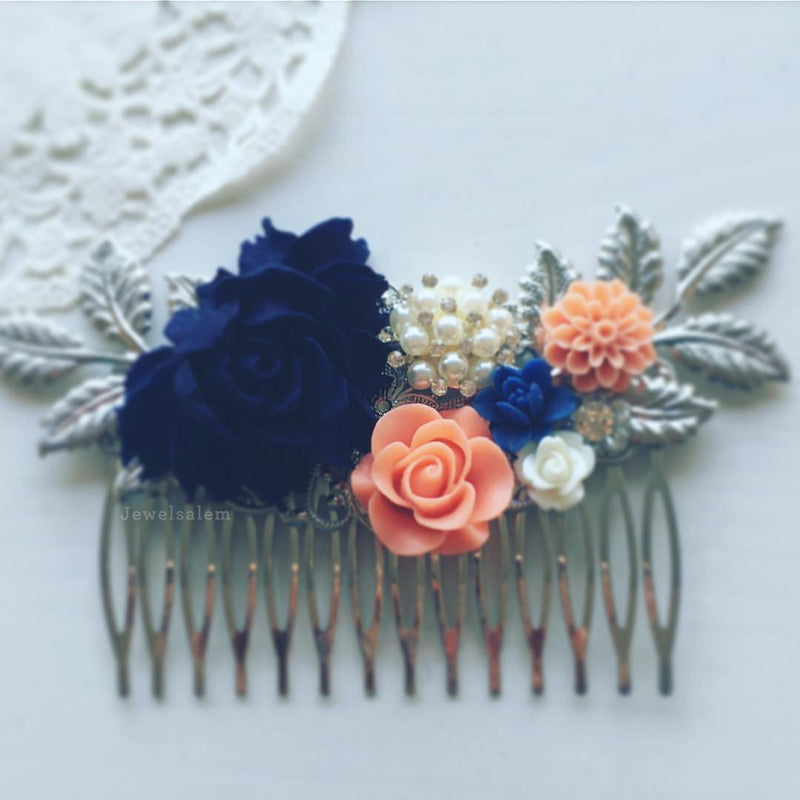 Navy And Coral Wedding.Olivia Navy Blue Coral Wedding Hair Comb