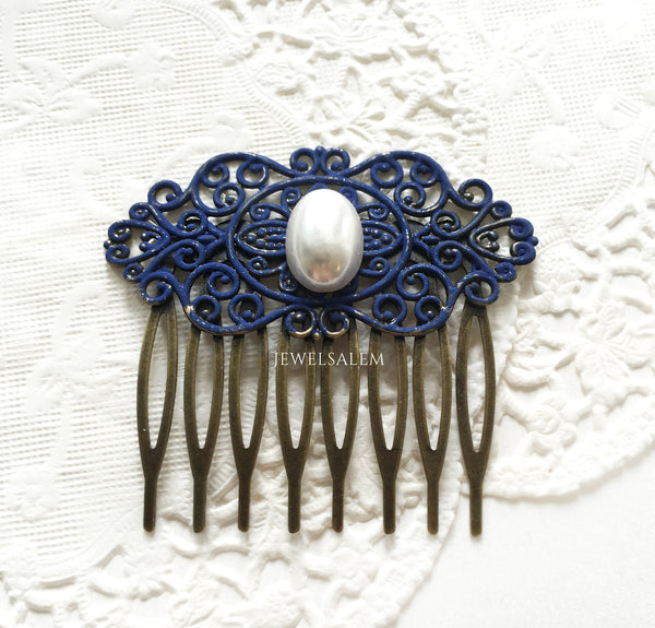 Navy Blue Bridal Comb with Pearl - Jewelsalem