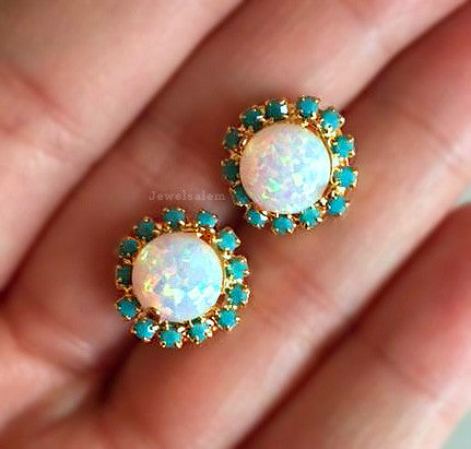rainbow opal birthstone jewelry earrings - jewelsalem