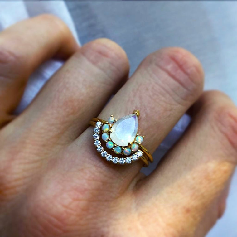 La Reine - Diamond Moonstone Vermeil Gold Stacking Rings