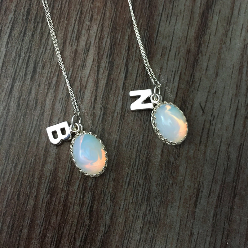 Vera - Opal Silver Initial Necklace - Jewelsalem
