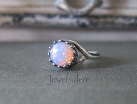 Small Opal Ring Sterling Silver Ring Gold Ombre Pink Fire Opal Ring Rustic Birthstone Ring Gift for Her Bohemian Chic Modern Jewelry - Jewelsalem