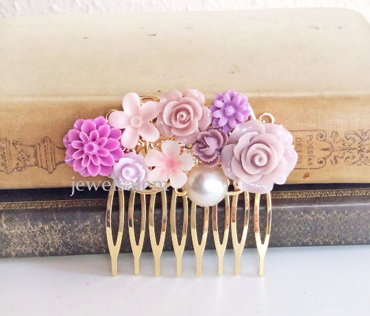 Orchid Wedding Hair Comb Gold Mauve Soft Lilac Purple Bridal Comb Flower Headpiece Floral Comb Romantic Shabby Chic Whimsical Vintage Style - Jewelsalem