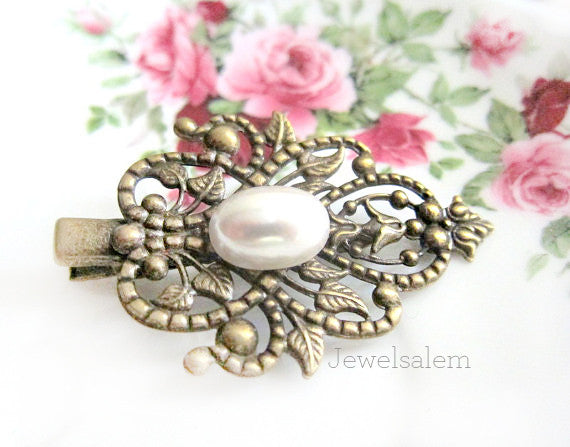 Vintage Style White Pearl Hair Clip Antique Filigree Hair Pin Wedding Bridal Head Piece Bridesmaids Gift Victorian Spanish Hair Accessories - Jewelsalem