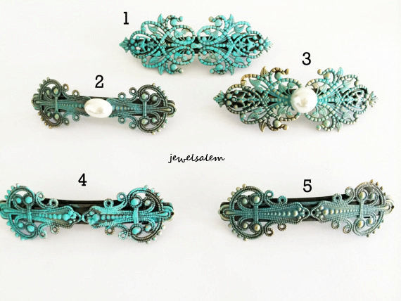 Hair Barrette Vintage Style Teal Turquoise Aqua Blue Exotic Victorian Statement Hair Accessories Girly Bohemian Chic - Jewelsalem