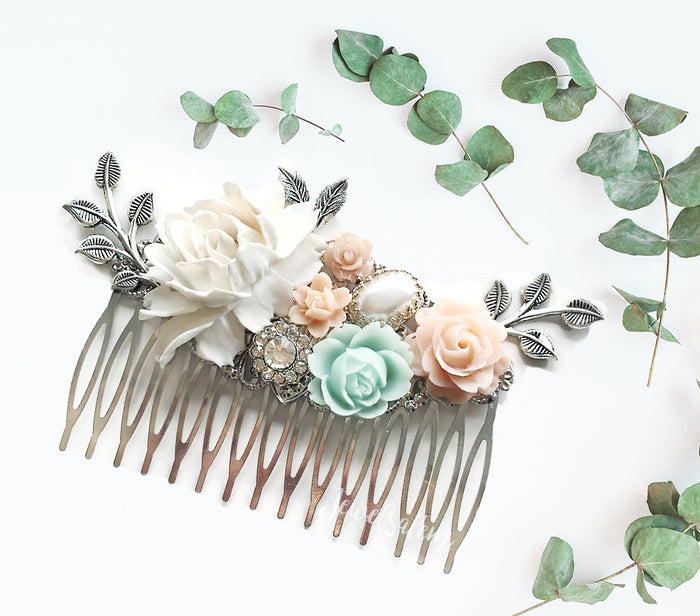 Lady Anne - Blush Pink and Powder Mint Green Bridal Hair Comb