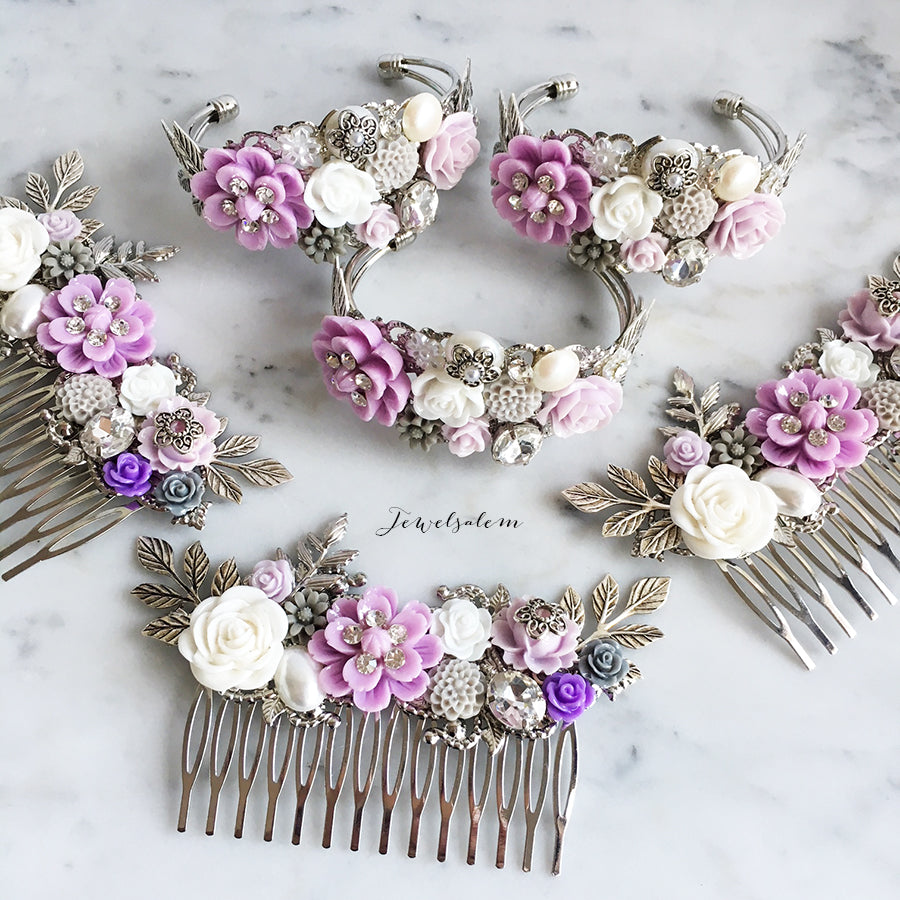 Amethyst - Purple Wedding Bridal Hair Comb Gray White Accents