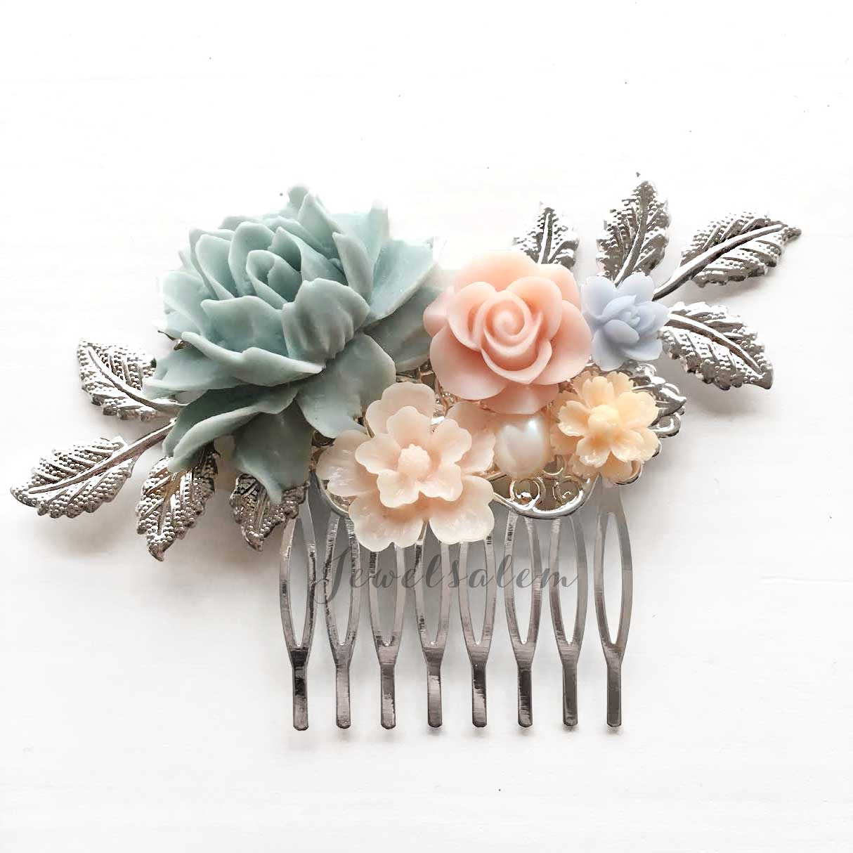 Jasmine - Dusky Mercury Blue Blush Pink Wedding Bridal Hair Comb