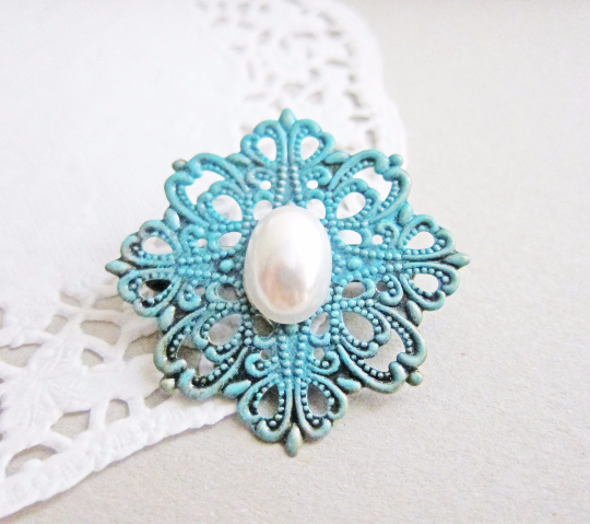 Patina Blue Brooch with Pearl Quaint Victorian Vintage Style