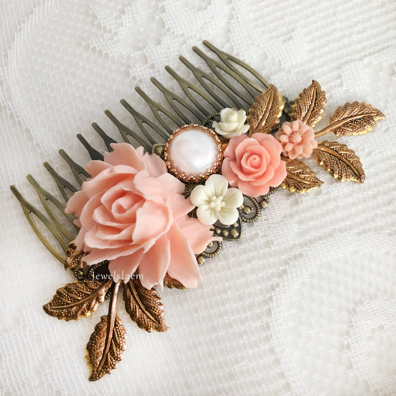 Peach Wedding Hair Comb Blush Pink Flowers Soft Coral Apricot Bridal Headpiece Bridesmaid Hair Pin Gift Romantic Hair Slide Woodland Hair Jewelry for Bride - Jewelsalem