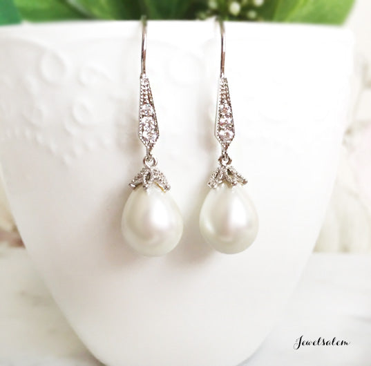 Ashley - Dangling Pearl Earrings Bridal Jewellery