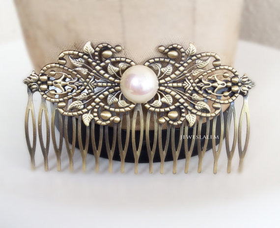 Pearl Hair Comb Modern Victorian Hair Slide for Bride Edwardian Art Deco Wedding Headpiece White Ivory Pearl Hair Accessories Film Noir - Jewelsalem