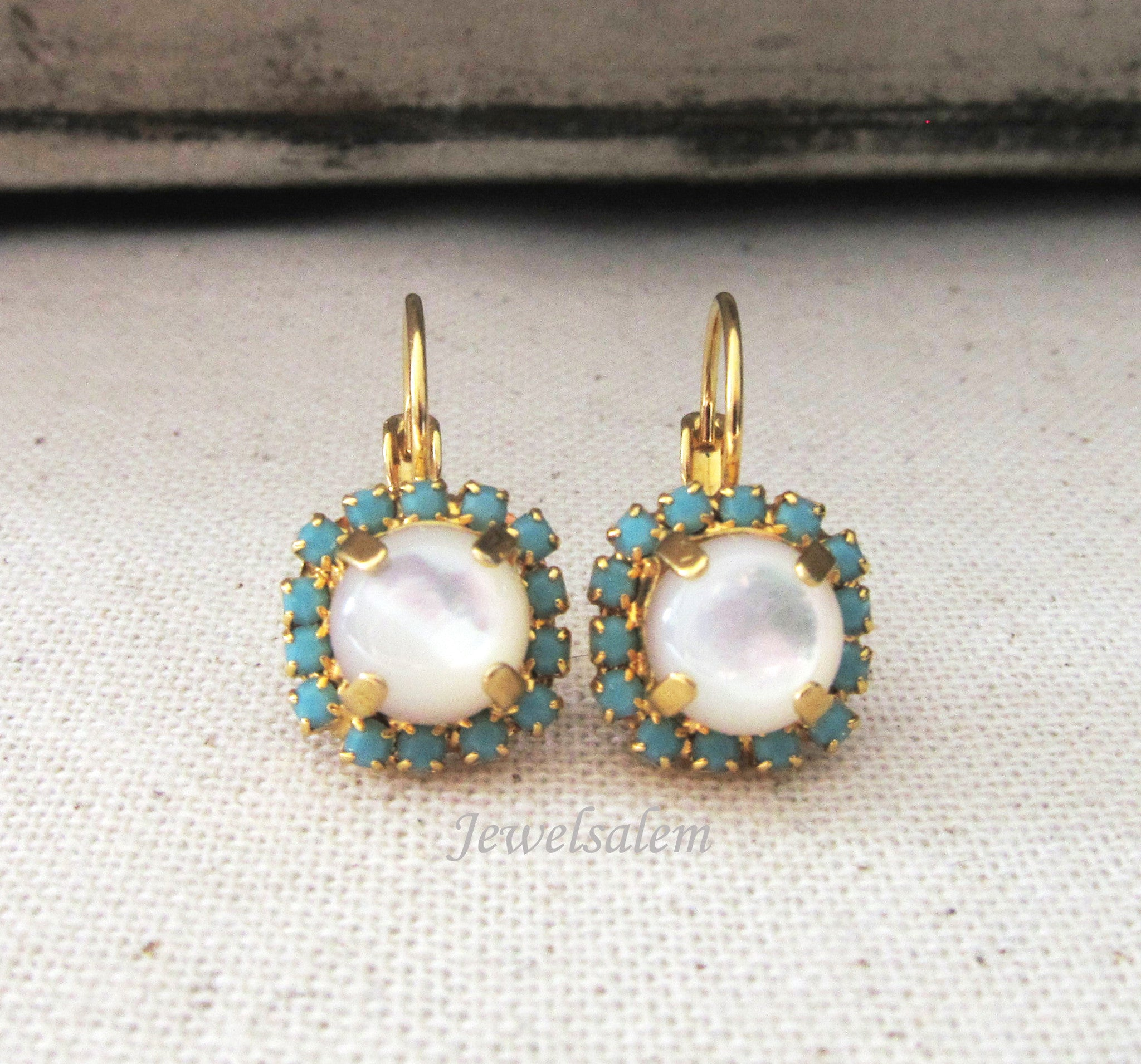 Rhinestone Pearl Earrings, Mother of Pearl Earrings, Elegant Bridal Jewellery - Jewelsalem