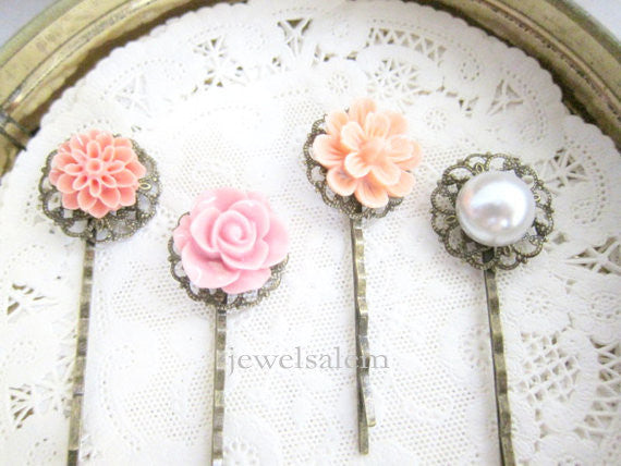 Pink Hair Pins Wedding Bridal Hair Pin Set of 4 Bridesmaid Gift Pearl Hair Pins Shabby Chic Pastel Pink Romantic Girly Sweet Soft Dreamy - Jewelsalem