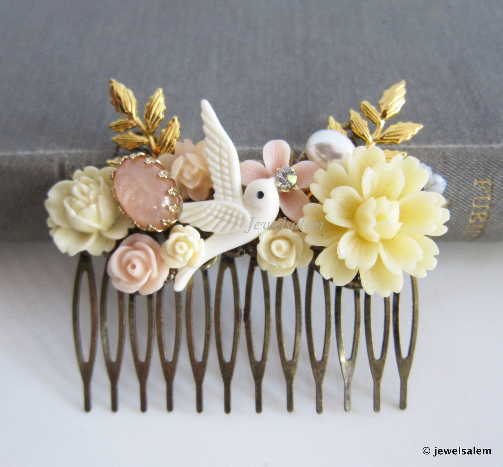 Bridal Hair Comb Ivory Pink Wedding Hair Accessories Blush Gold Bride Hair Adornment Romantic Floral Hair Pin Bridesmaid Gift - Jewelsalem