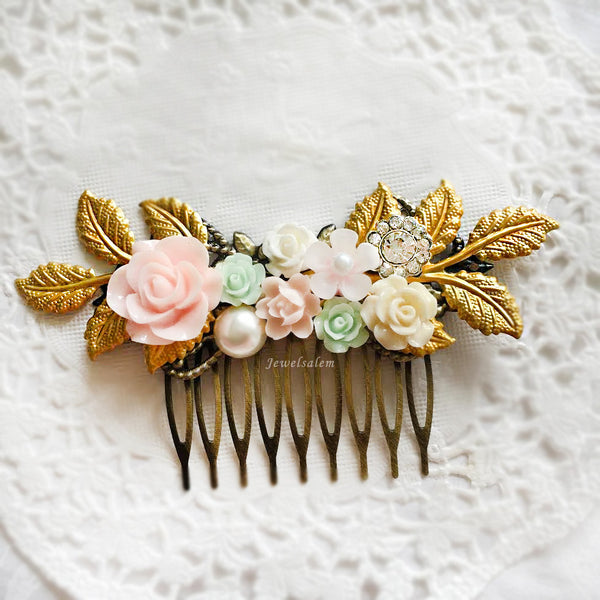 Pauline - Pastel Wedding Hair Comb in Blush, Ivory, Mint, Gold Leaves - Jewelsalem
