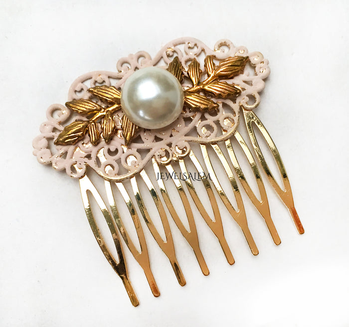 Pink Pearl Comb Bridal Hair Comb Blush Gold Elegant Wedding Hair Slide Romantic Wedding Hair Accessories for Bride - Jewelsalem