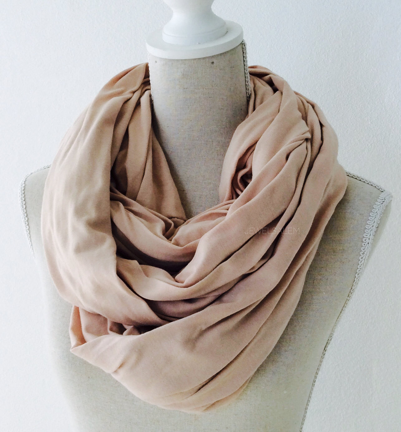 Infinity Scarf Nude Pink Blush Beige Long Circle Scarf - Jewelsalem