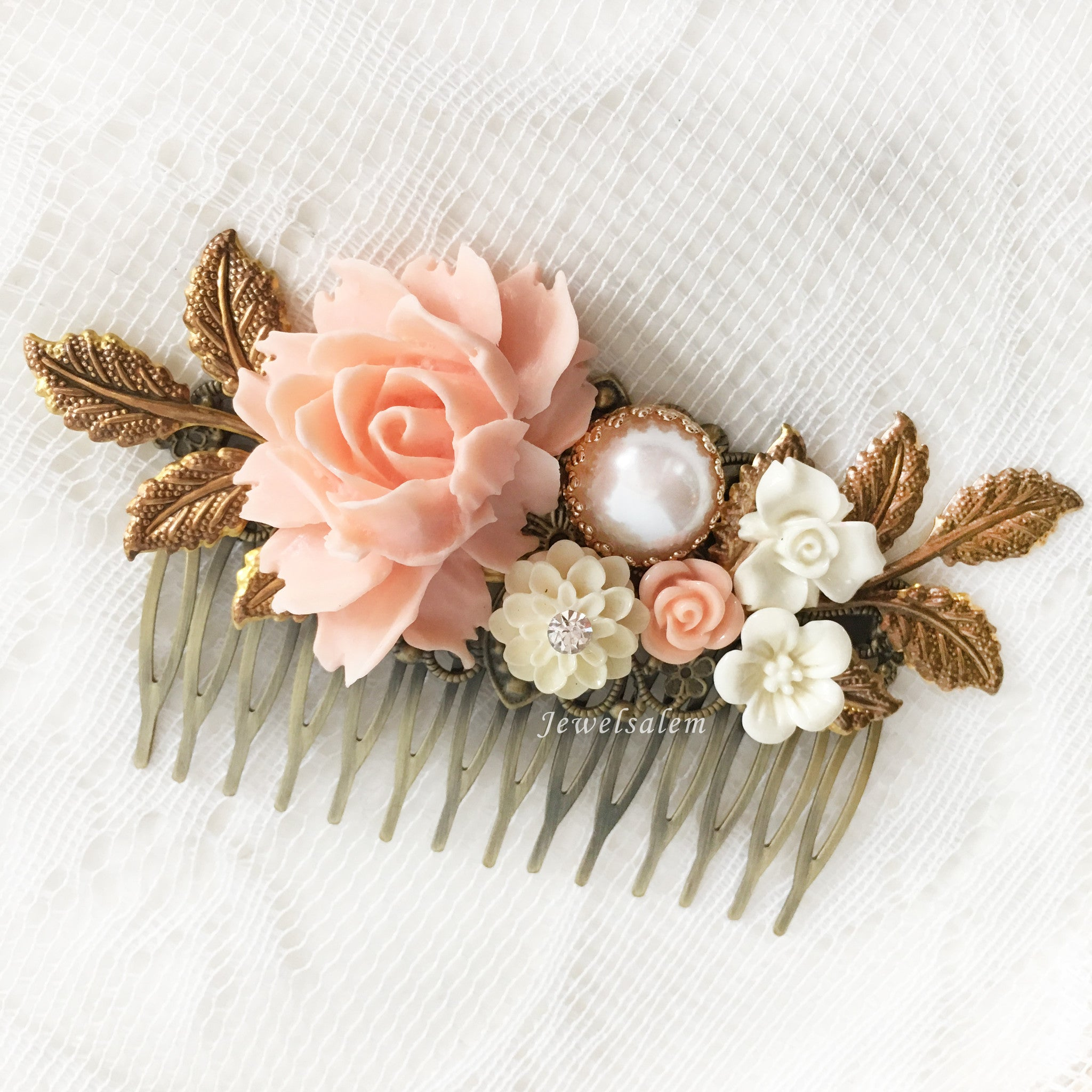 Pink Bridal Hair Comb Coral Wedding Hair Slide Blush Peach Romantic Headpiece Bridesmaid Hair Comb Maid of Honor Gift Pastel Pink Hair Pin - Jewelsalem