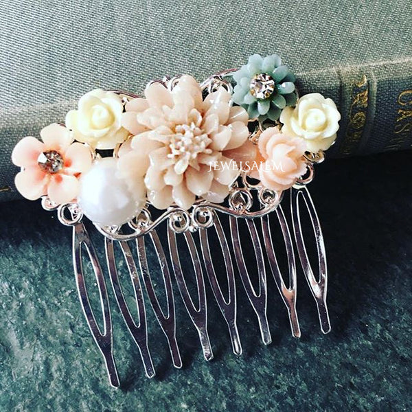 Wedding Hair Comb Rose Quartz Bridal Hair Comb Blush Pink Hair Comb Romantic Headpiece Silver Hair Slide Rustic Floral Collage Hair Pin - Jewelsalem