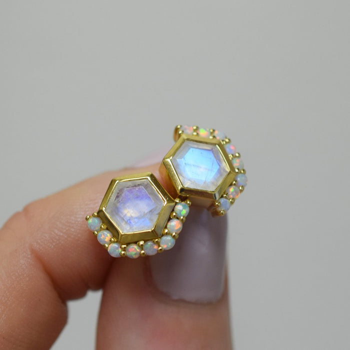 Champs Élysée - Rainbow Moonstone Opal Earrings