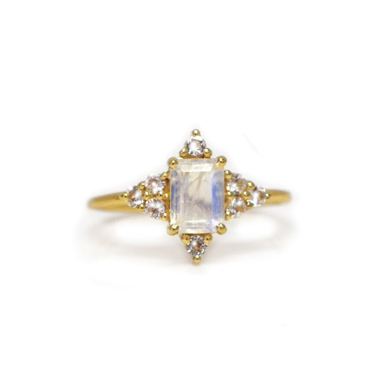 Northstar - Rainbow Moonstone Topaz Ring