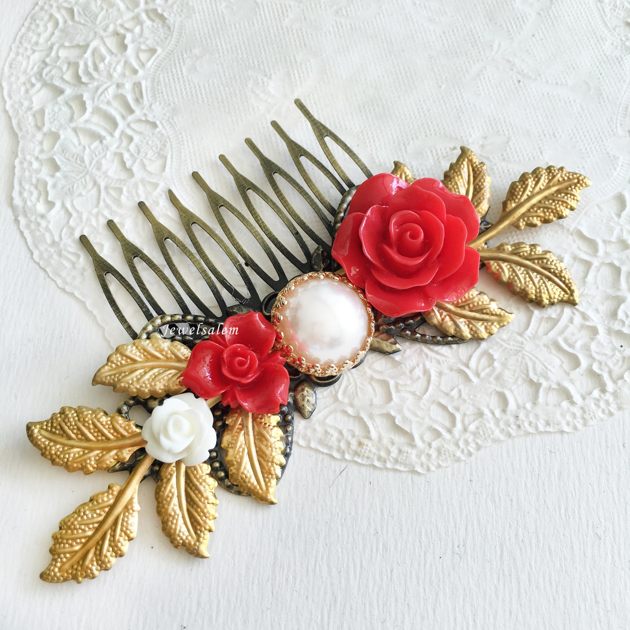 Red Bridal Hair Comb Wedding Hair Slide Flower Hair Pin with Gold Leaves - Jewelsalem