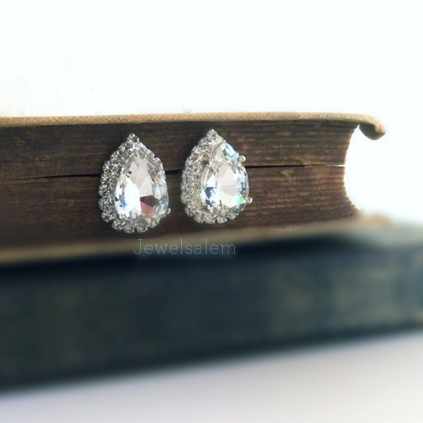 Delovely - Rhinestone Wedding Earrings - Jewelsalem