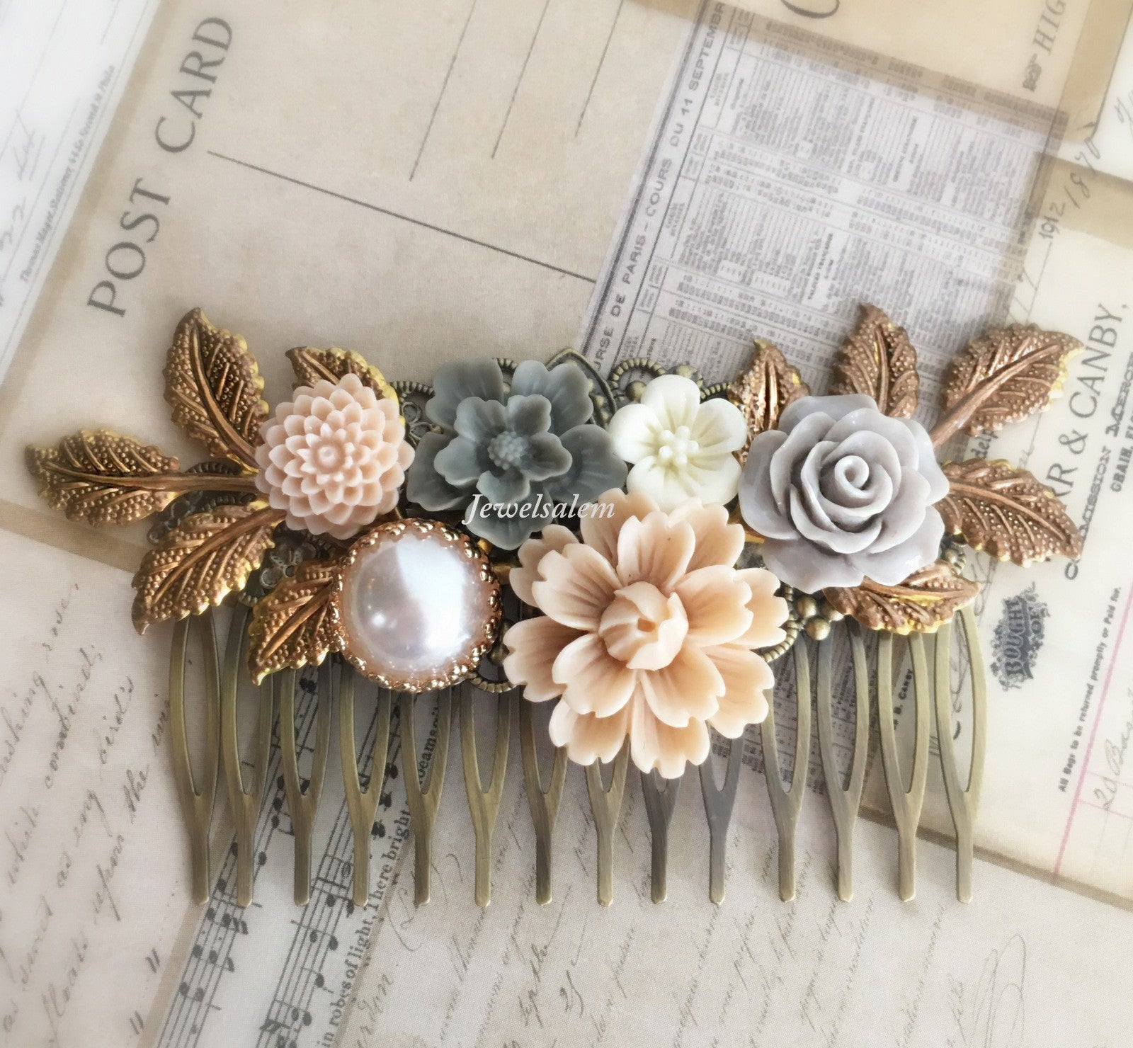 Wedding Hair Comb Bridal Headpiece Blush Pink Gray Hair Pin Peach Pink Taupe Bridal Hair Slide Woodland Rustic Comb - Jewelsalem