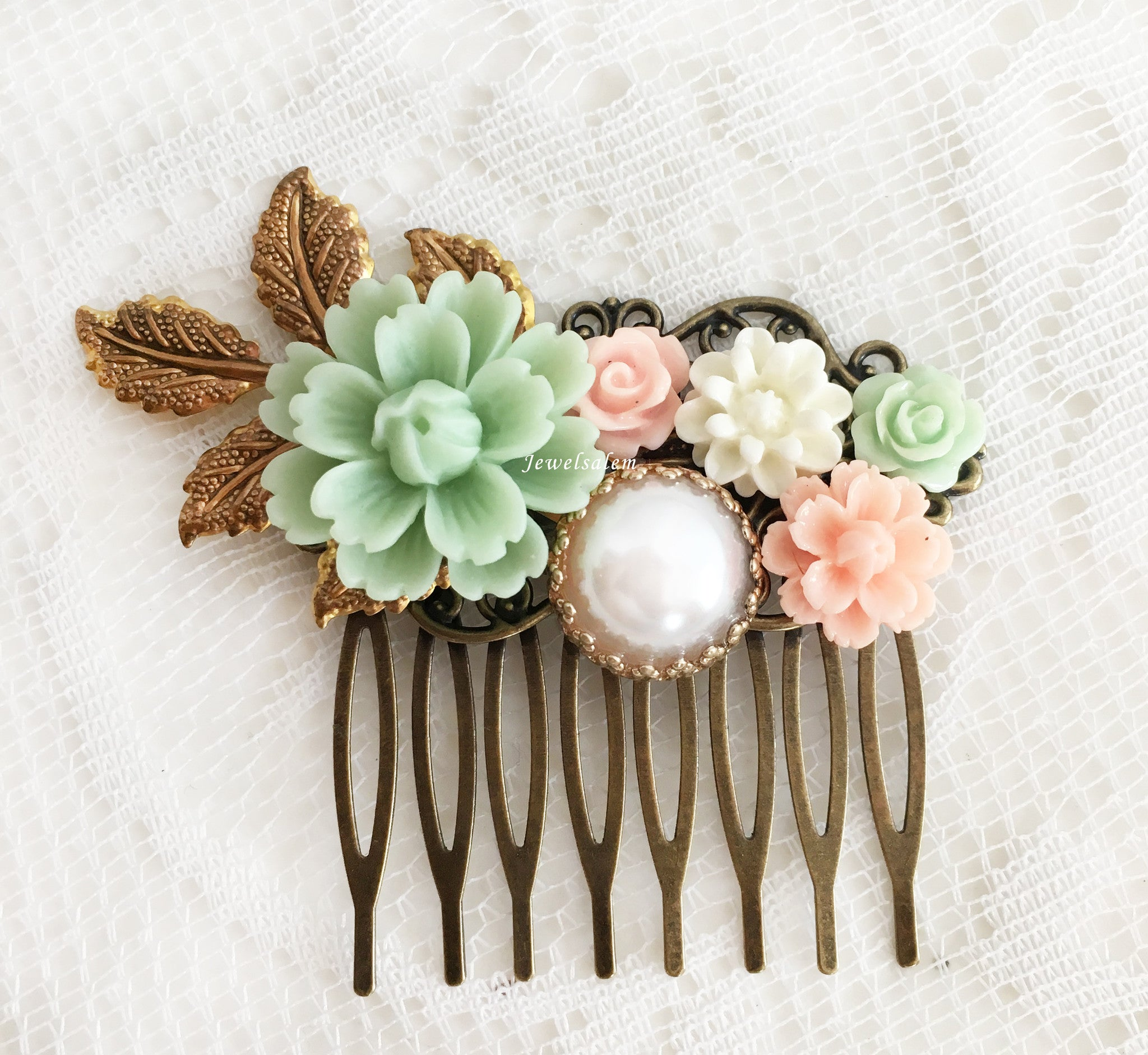 Romantic Bridal Hair Comb Mint Blush Pink Wedding Hair Accessories for Bride Rustic Romantic Floral Hair Adornment - Jewelsalem
