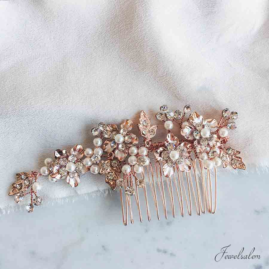 Kelly - Rose Gold Swarovski Crystal Wedding Hair Comb