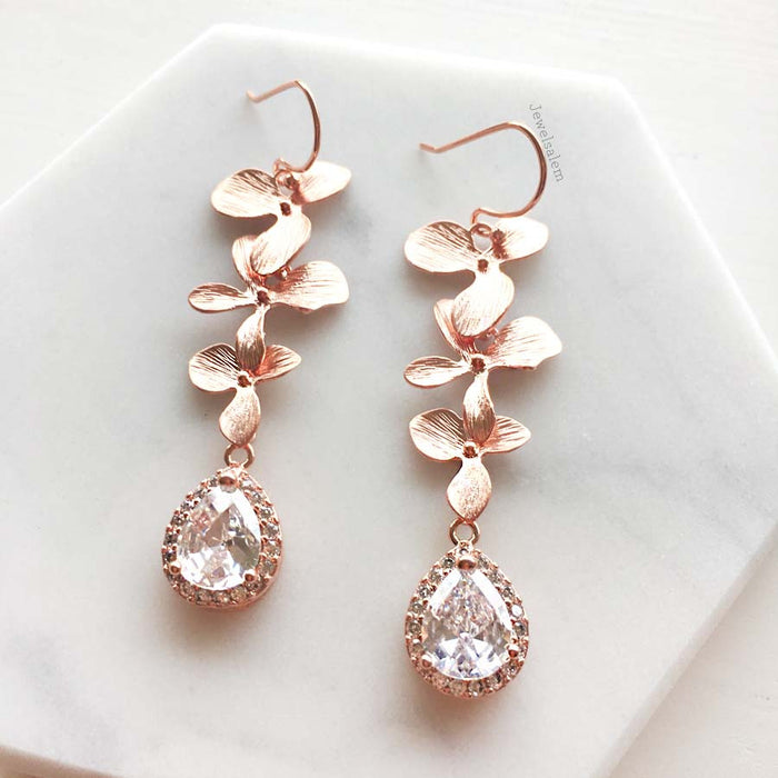 Orla II - Rose Gold Cubic Zirconia Wedding Earrings Cascading Orchid Jewellery