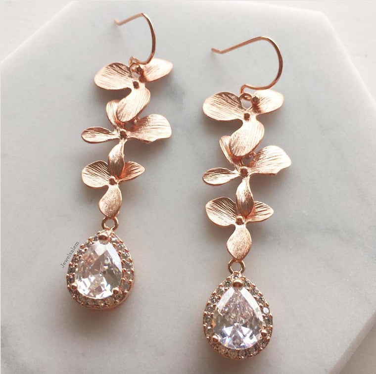 Orla II - Gold Cascading Orchid Earrings