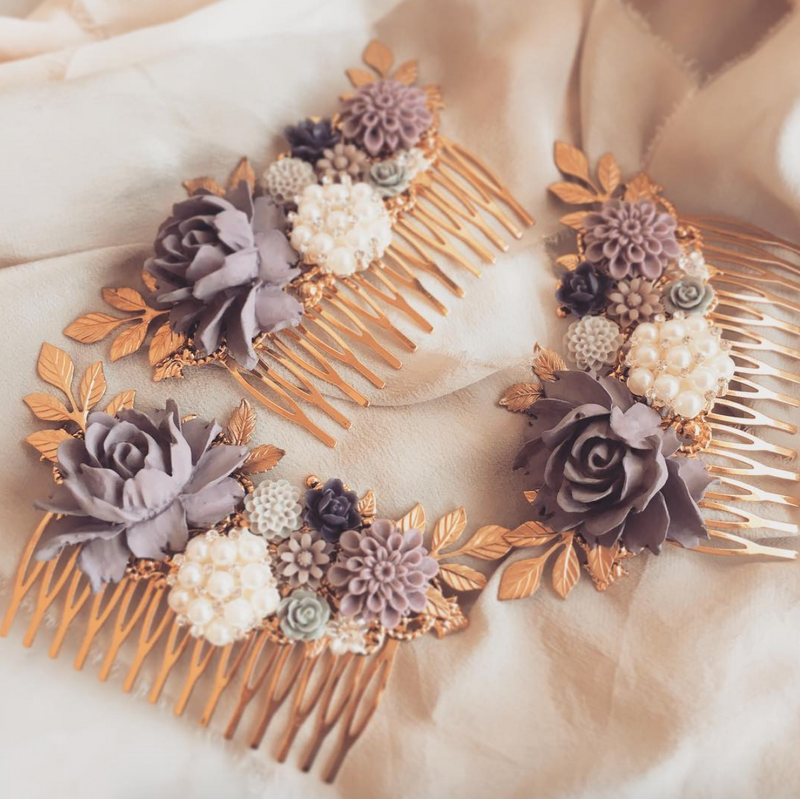 Amethyst - Lavender Wedding Hair Comb