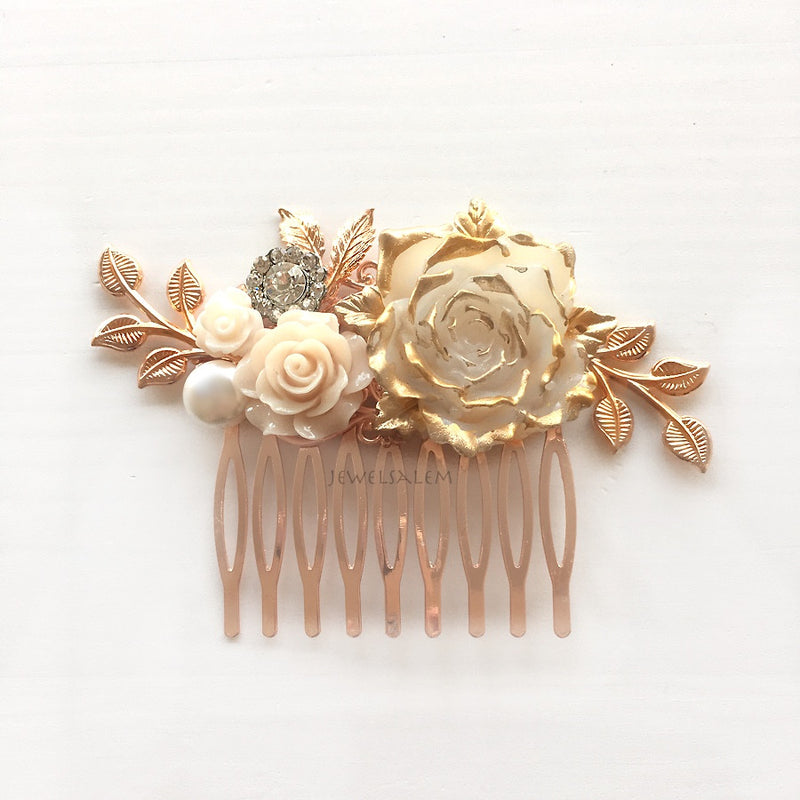 Pemberly - Rose Gold Wedding Hair Comb