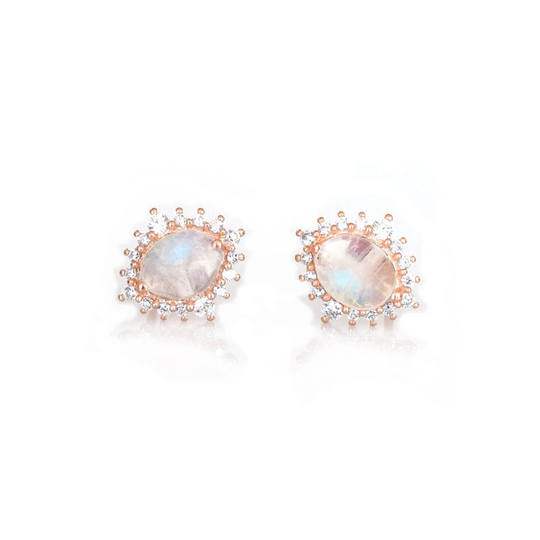 Place Vendôme - Rose Gold Vermeil Moonstone Diamond Earrings