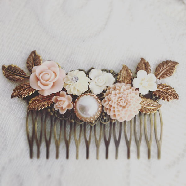 Seraphina - Blush Pink Wedding Headpiece Bridal Comb - Jewelsalem