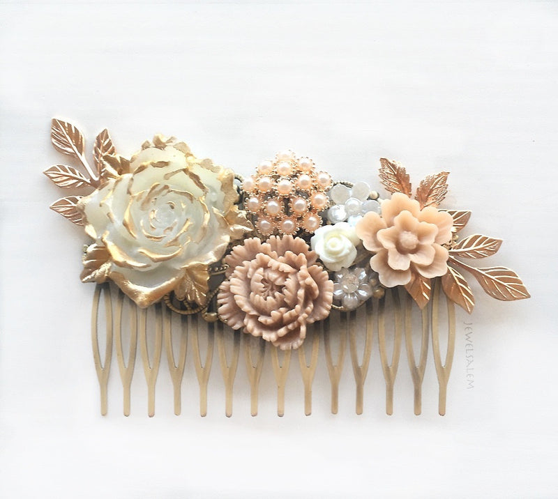 rose gold wedding comb, romantic personalised design for brides
