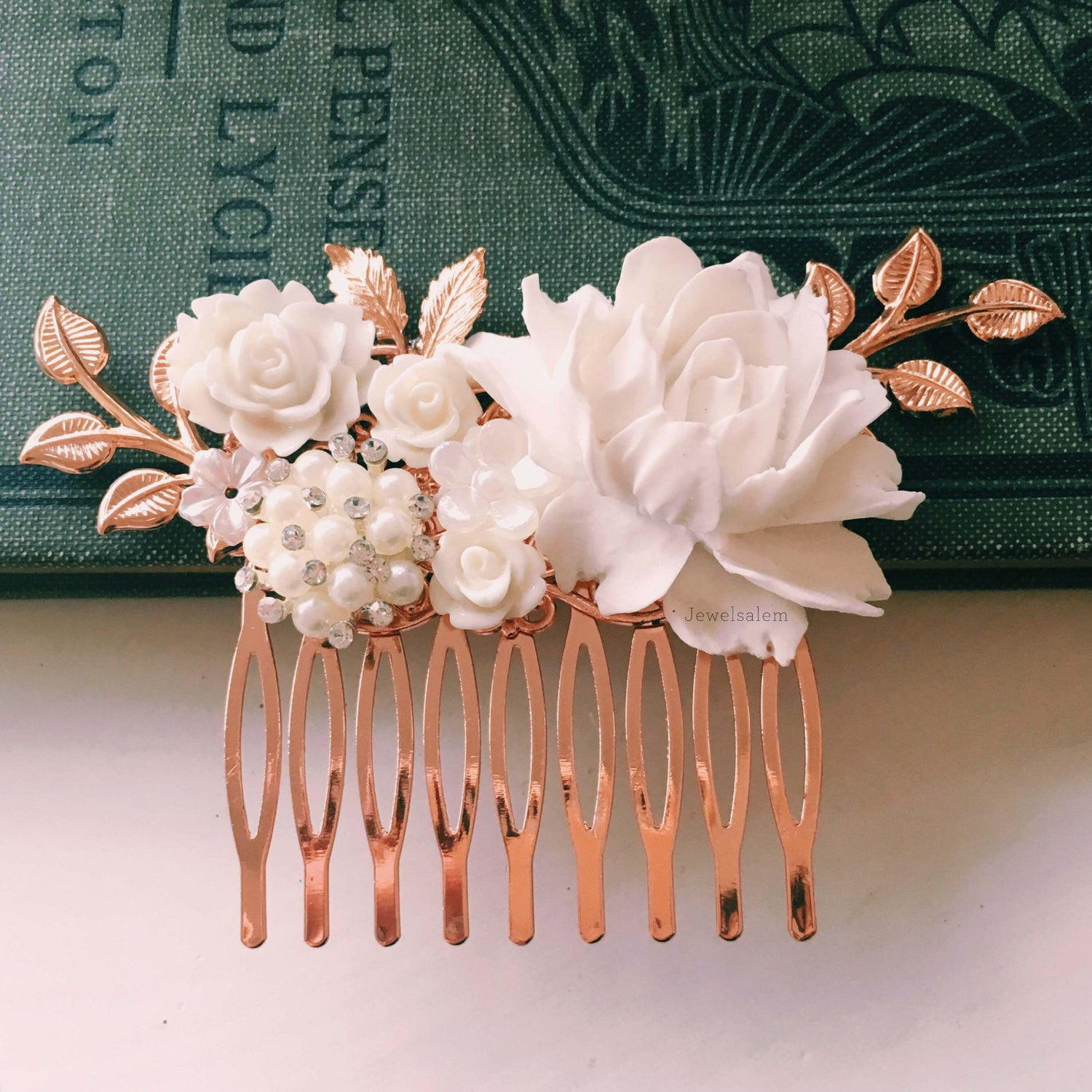 Pemberly - White Flower Rose Gold Wedding Comb