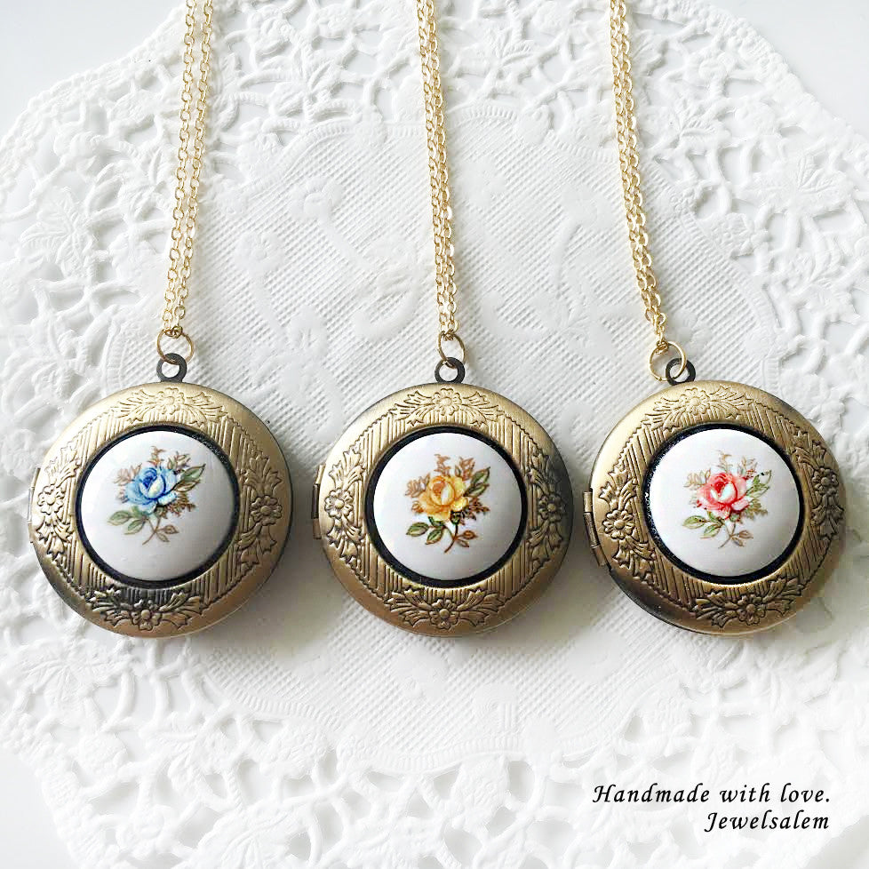 Locket Necklace Round Locket Photo Locket Gift Preppy Vintage Porcelain Glass Locket Quaint Chintz Flower Locket - Jewelsalem