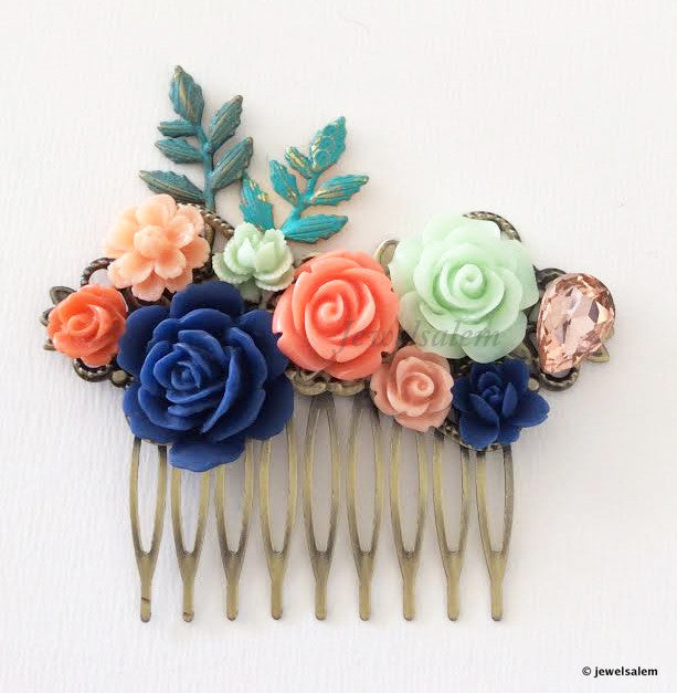 Rustic Wedding Hair Accessories Bridal Comb Coral Navy Mint Green Spring Garden - Jewelsalem